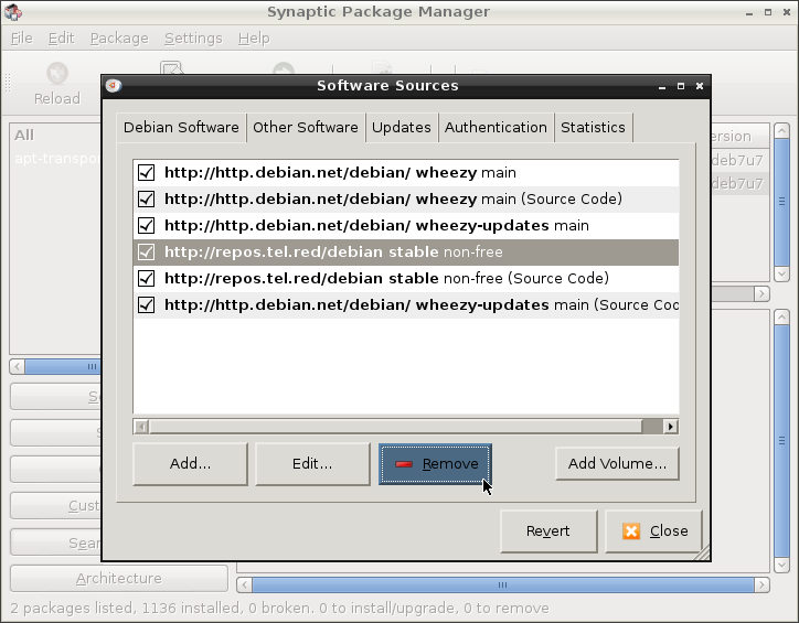 In Synaptic Package Manager, Software Sources, select []https://repos.tel.red/debian stable non-free, and click [Remove]