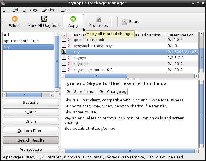 In Synaptic Package Manager, select sky, then click [Apply]